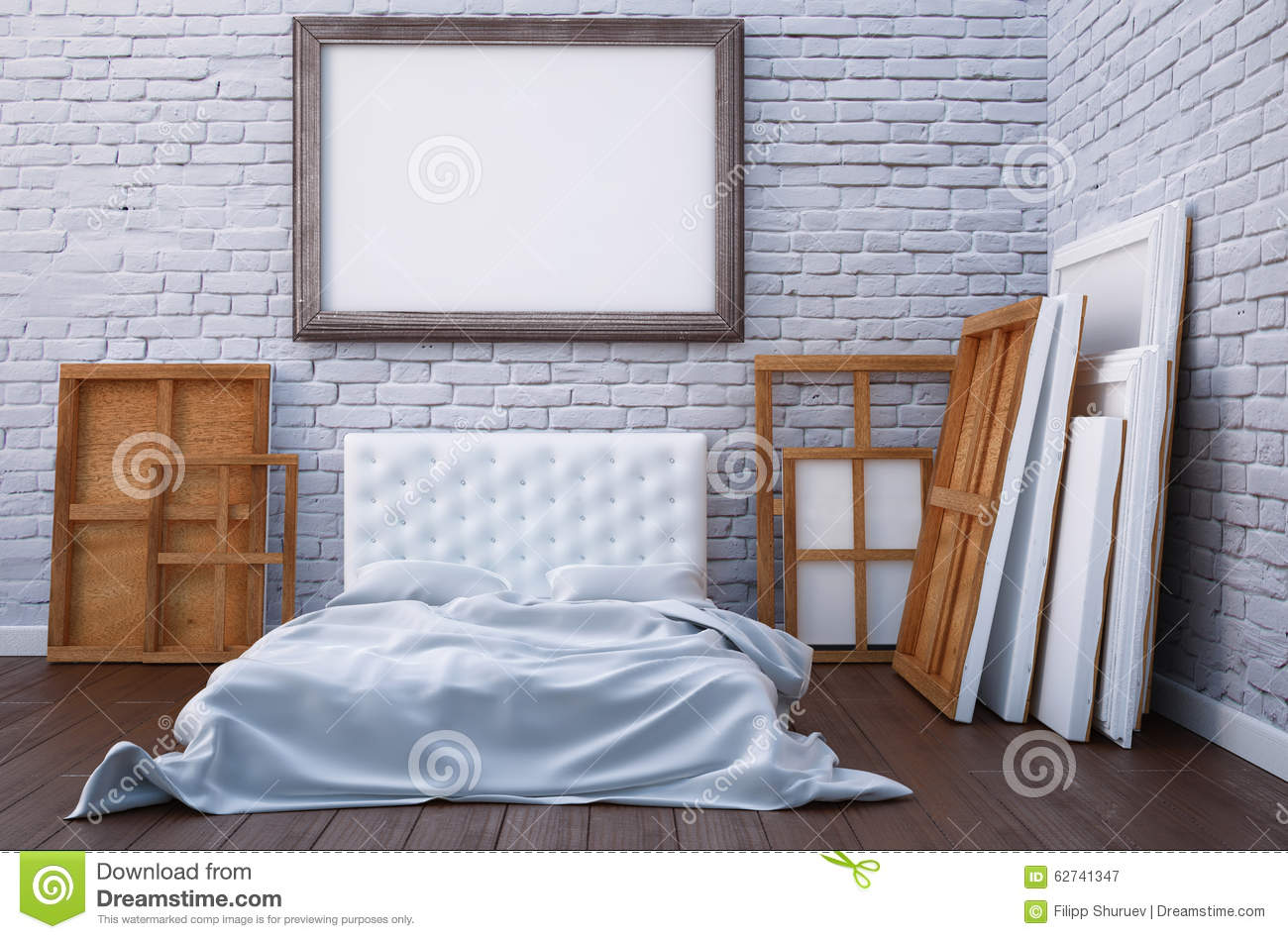 3d Render Bedroom With A Bed And The Pictures On The Floor And Wall