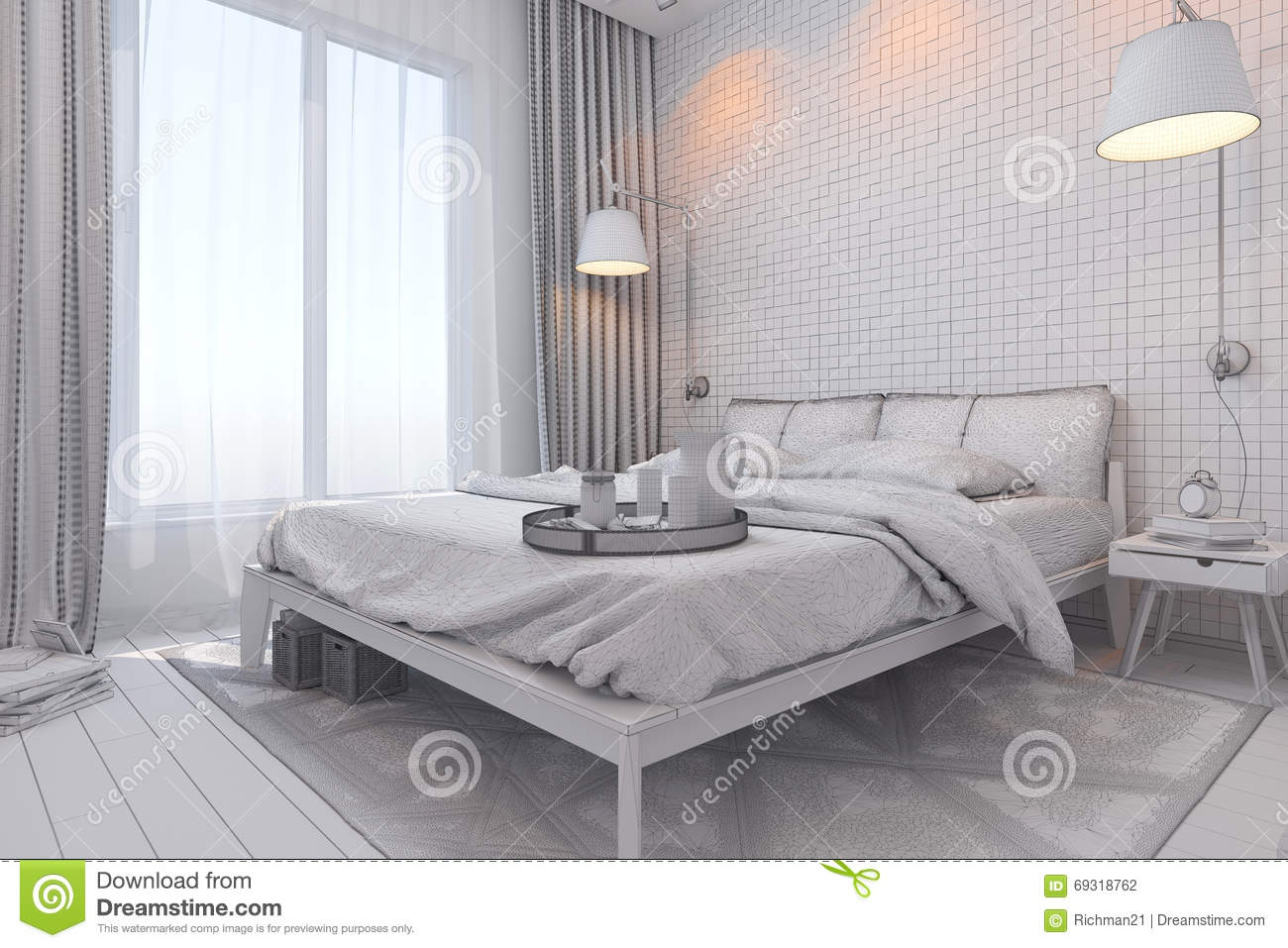 3d Render Of Bedroom Interior Design In A Contemporary Style