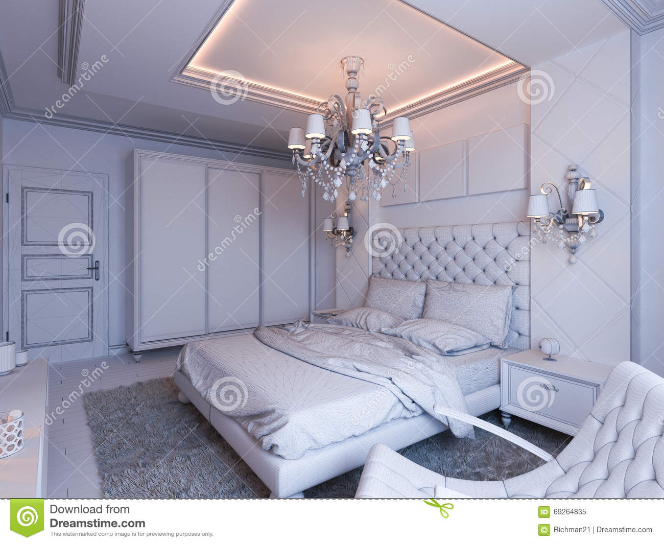 3d render of bedroom interior design in a modern classic for Classic interior design style