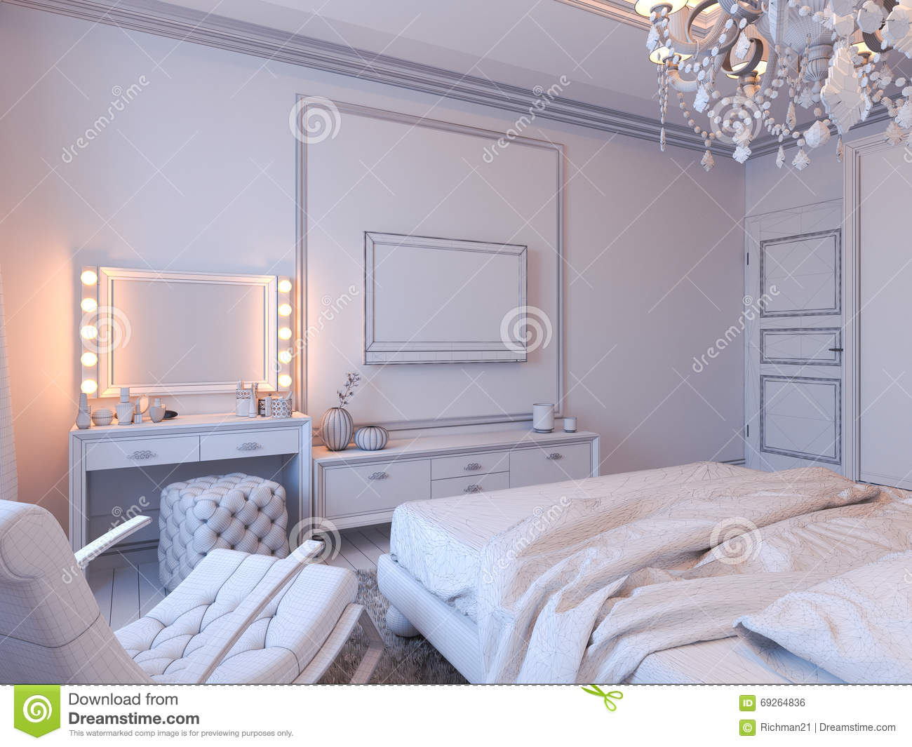 3d Render Of Bedroom Interior Design In A Modern Classic Style. Light,  Duvet.