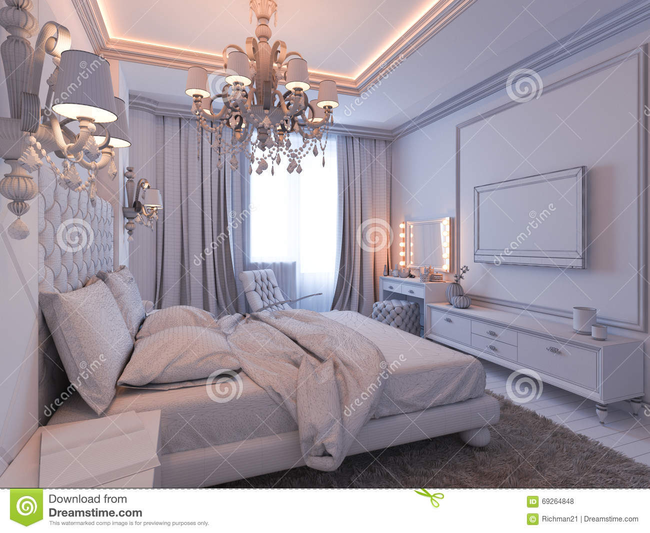 3d render of bedroom interior design in a modern classic for Classic style bedroom ideas