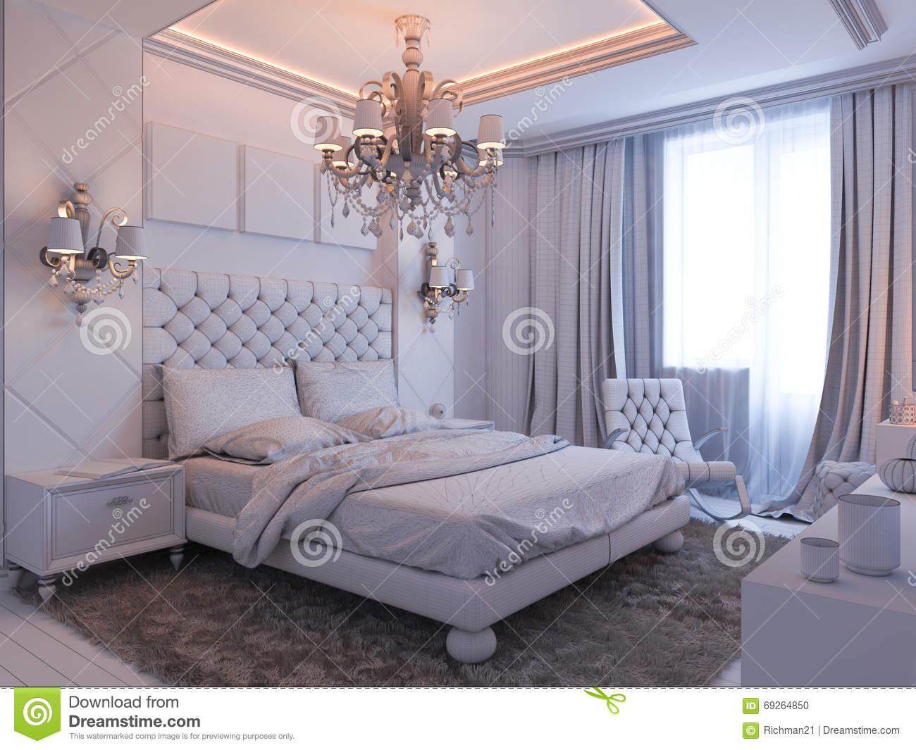 3d render of bedroom interior design in a modern classic for Classic american decorating style