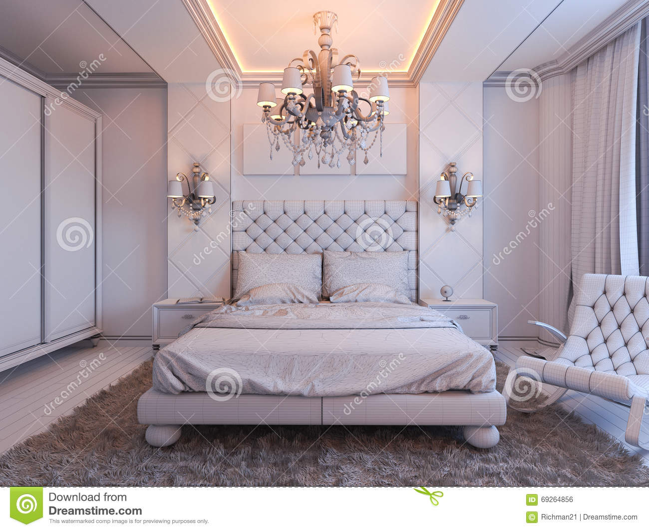 3d Render Of Bedroom Interior Design In A Modern Classic ...