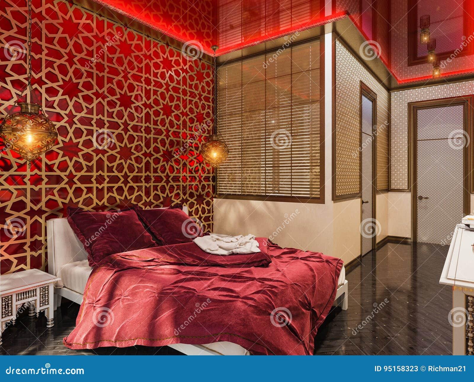 3d render bedroom islamic style interior design stock for Beautiful hotel room design