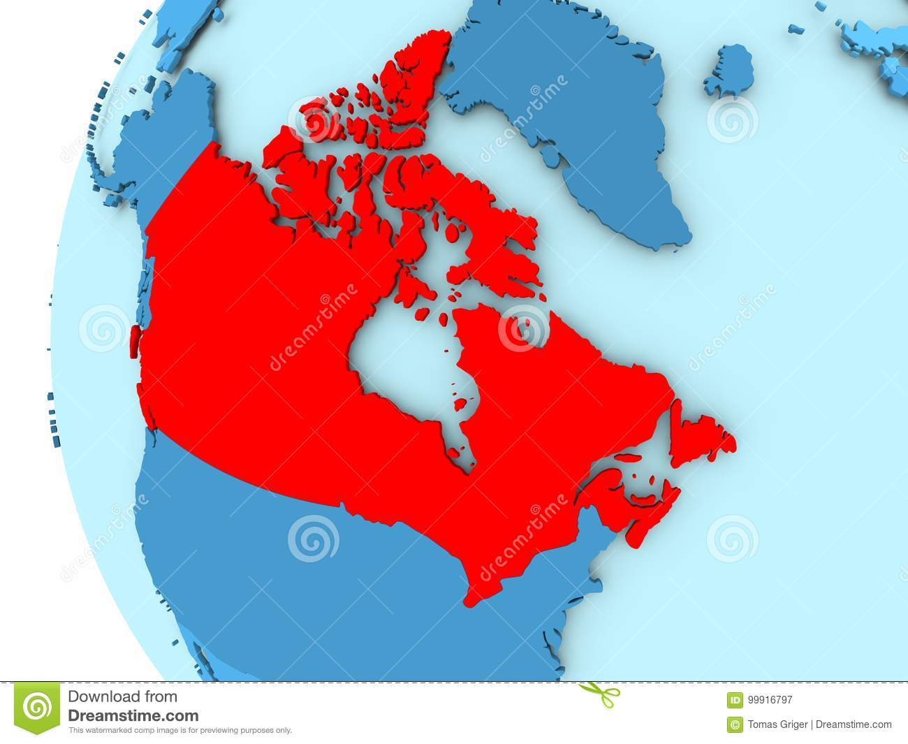 Map Of Canada On Globe.Map Of Canada Stock Illustration Illustration Of Canada 99916797