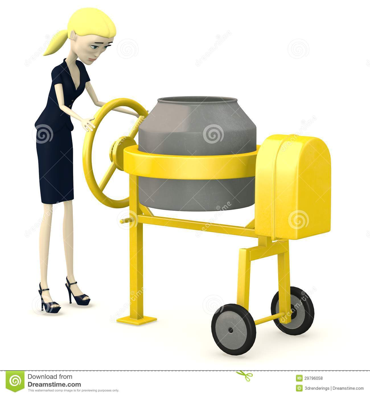 Concrete Mixing Animation : Cartoon businesswoman with cement mixer royalty free stock