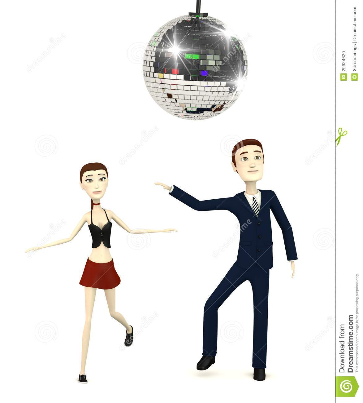 Cartoon Characters Dancing : Cartoon characters with discoball dancing stock photo