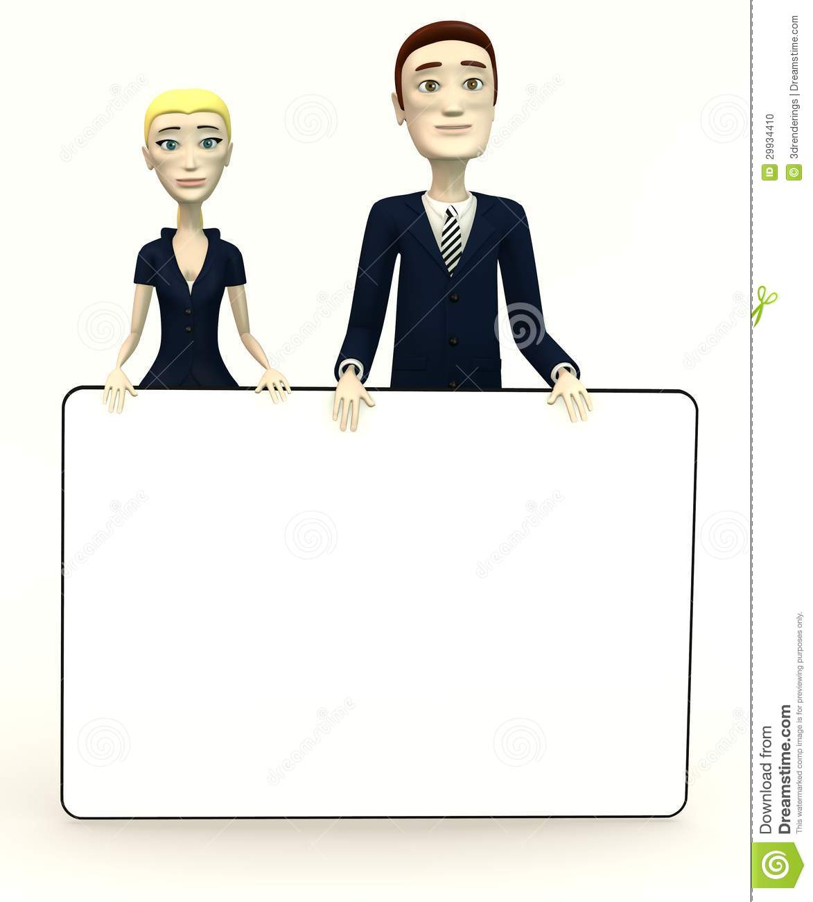Cartoon Characters In Suits : Cartoon characters in suits with empty board stock photo