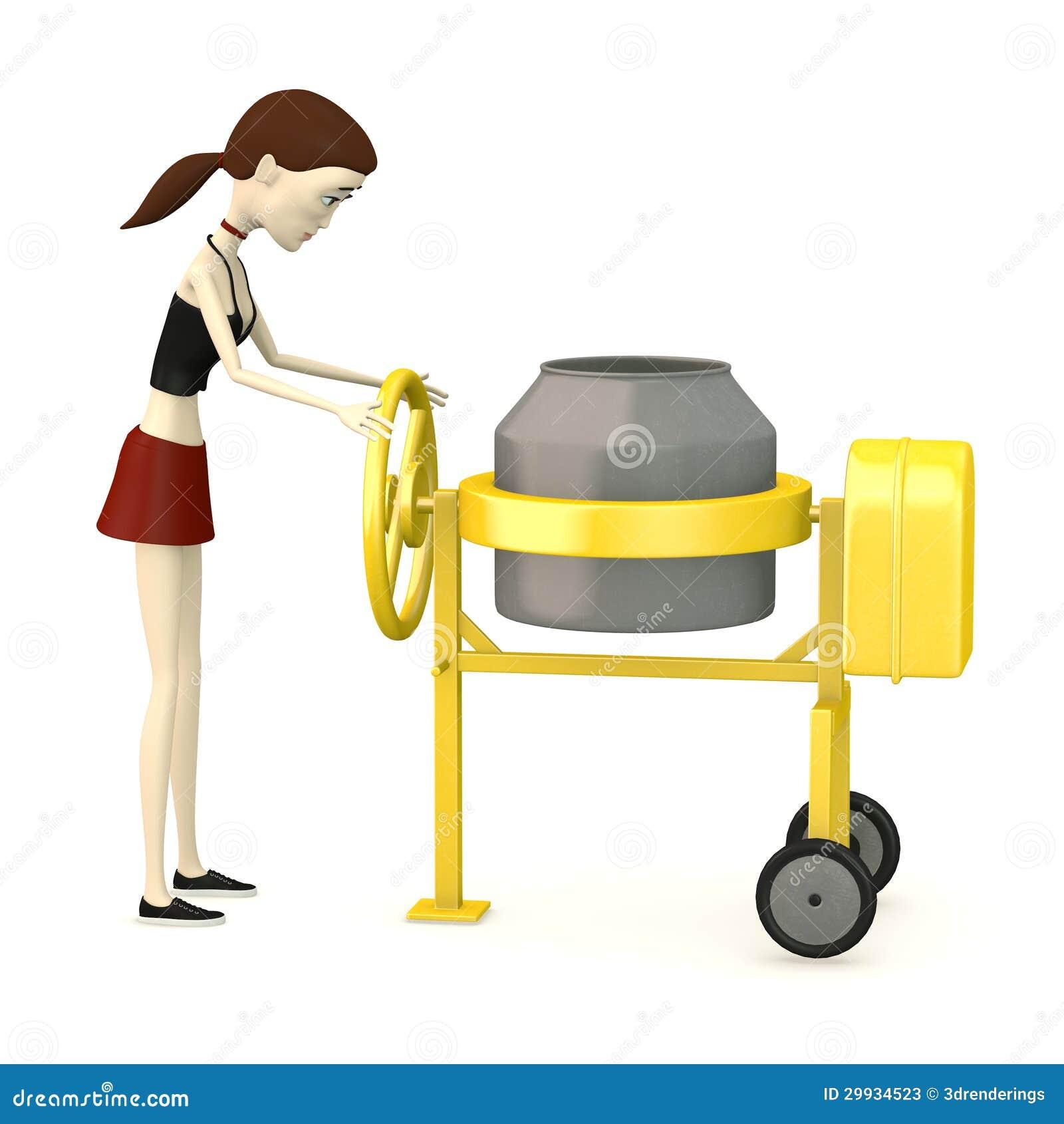 Concrete Mixing Animation : Cartoon girl with cement mixer stock photos image