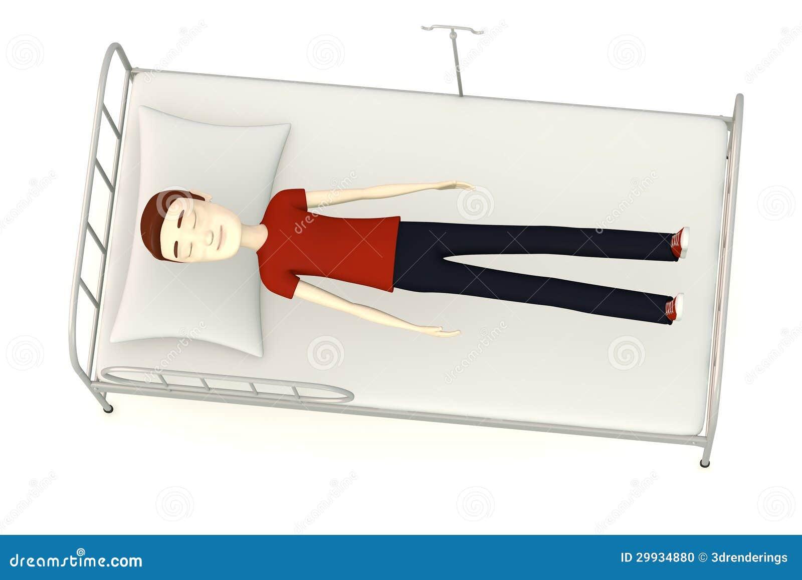 Cartoon Man On Hospital Bed