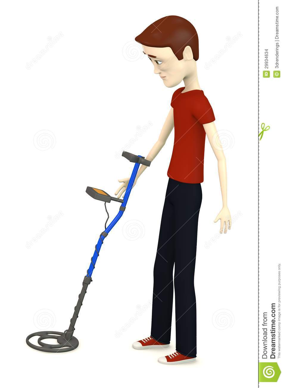 Jew Detector: Cartoon Man With Metal Detector Stock Images