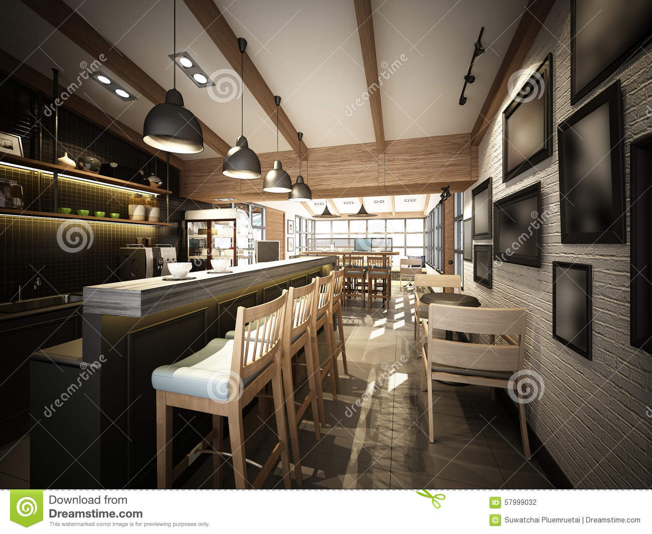Furniture Design App 3d Render Of Coffee Shop 3dwire Frame Render Stock