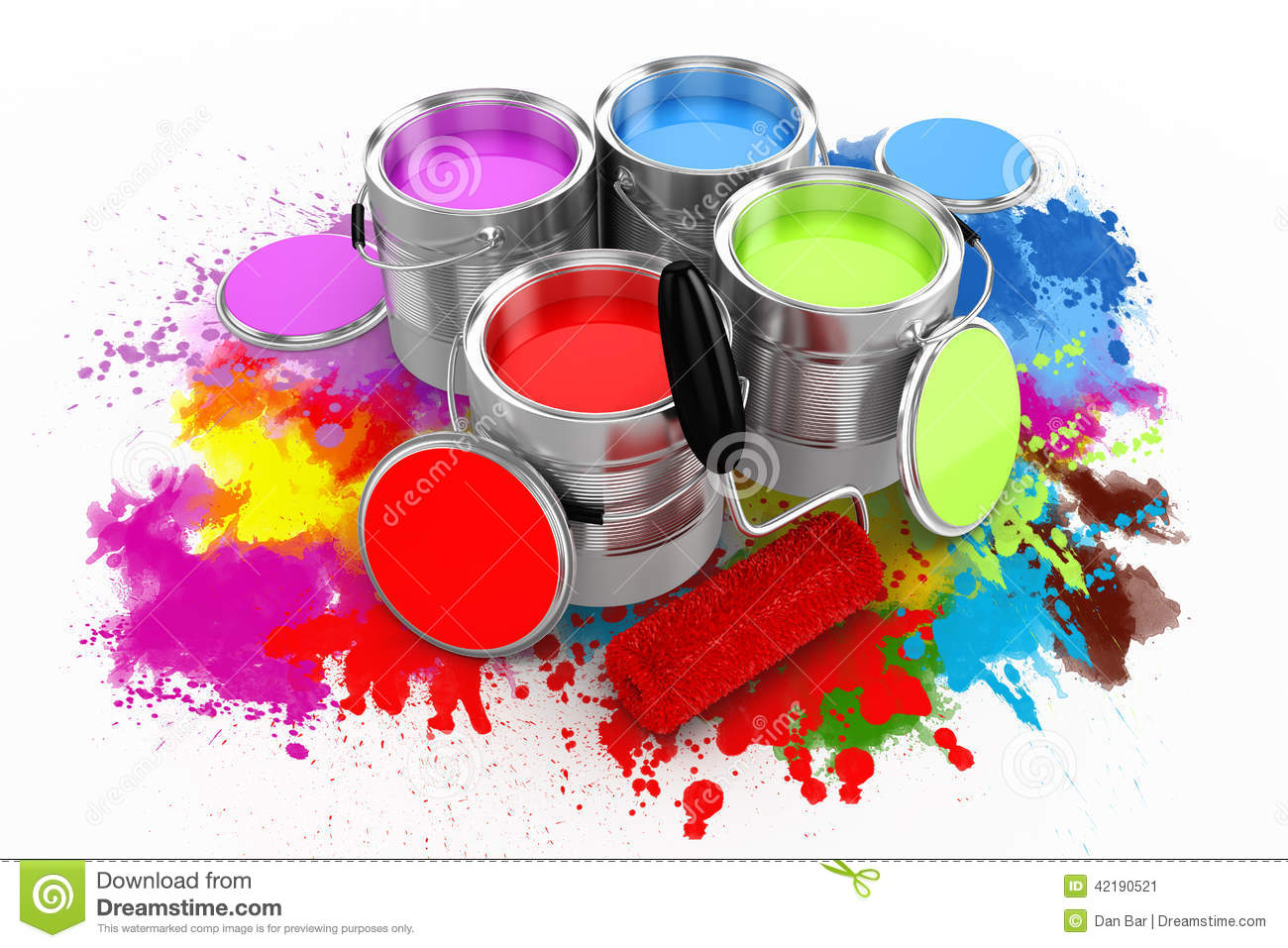3d render of colorful paint bucket stock illustration for Photos to paint