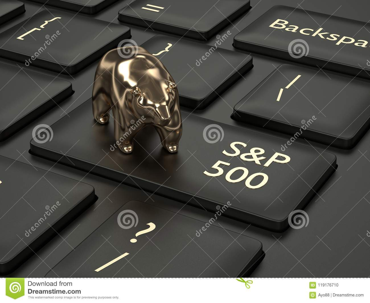 3d Render Of Computer Keyboard With Bear And Sp 500 Index Stock