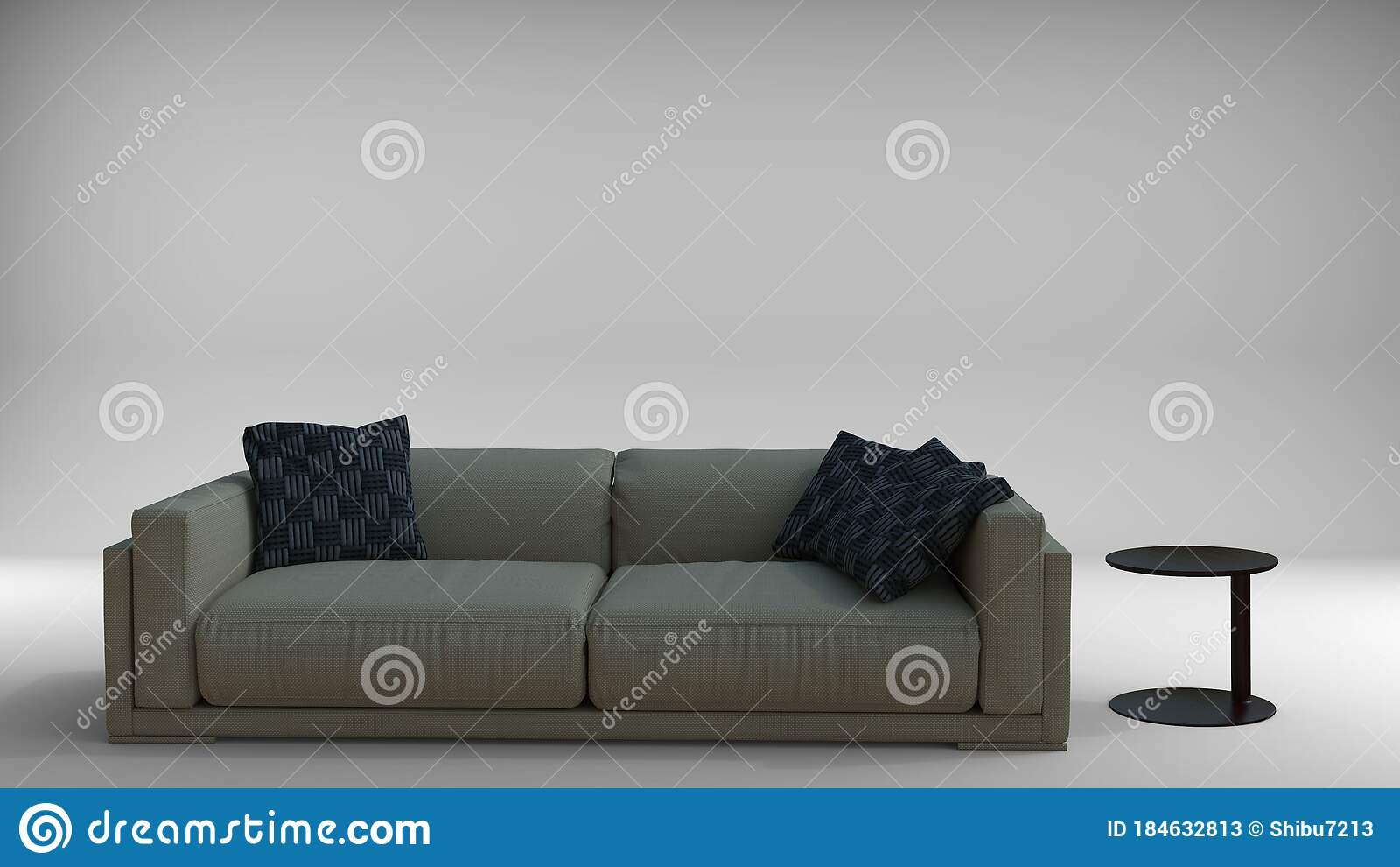 Picture of: 3d Render Of Couch Sofa Set With Cushions With Side Table Concept Furniture For Interior Decoration Stock Illustration Illustration Of Design Interior 184632813