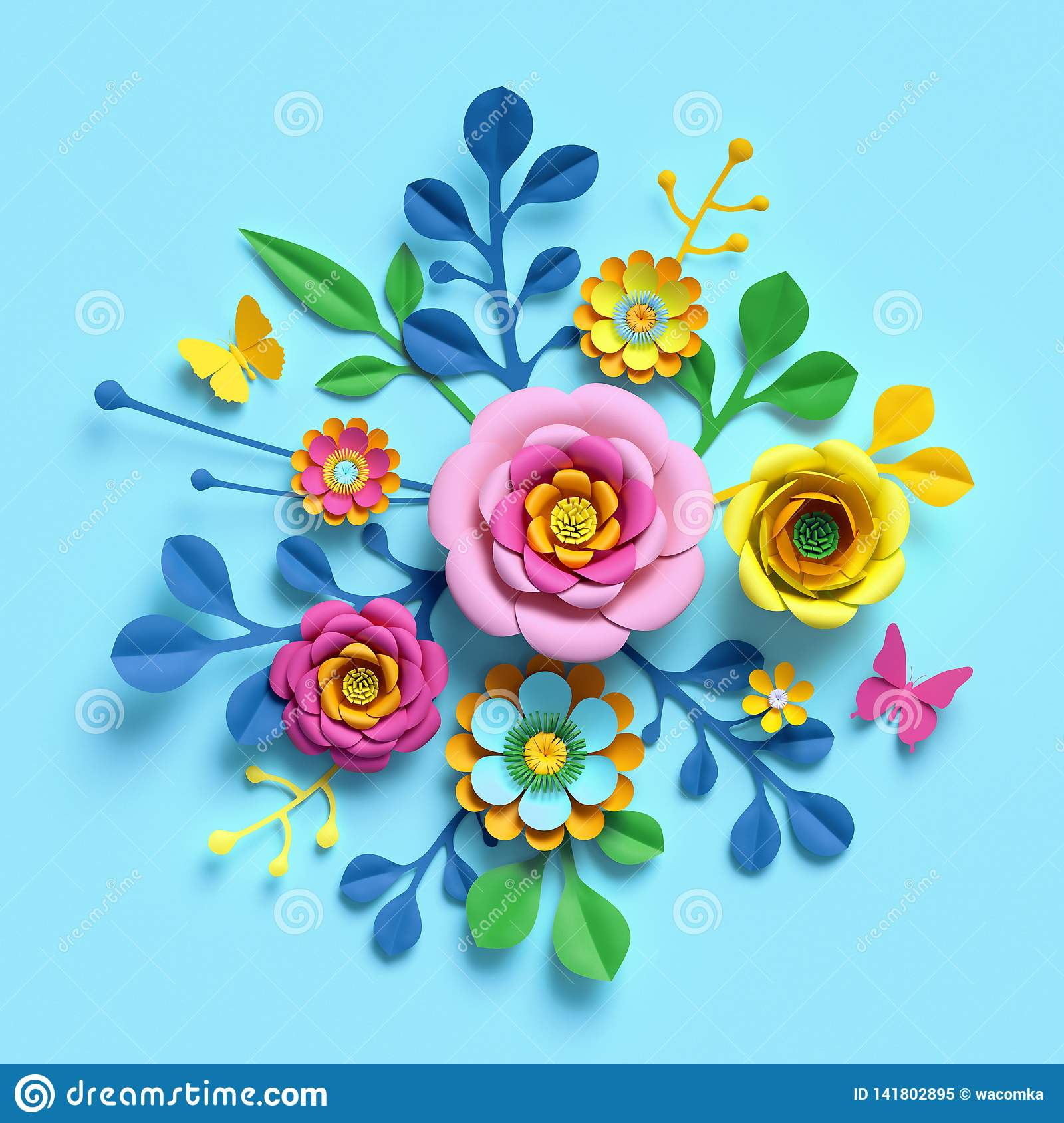3d render, craft paper flowers, floral bouquet, botanical arrangement, candy colors, nature clip art isolated on blue background