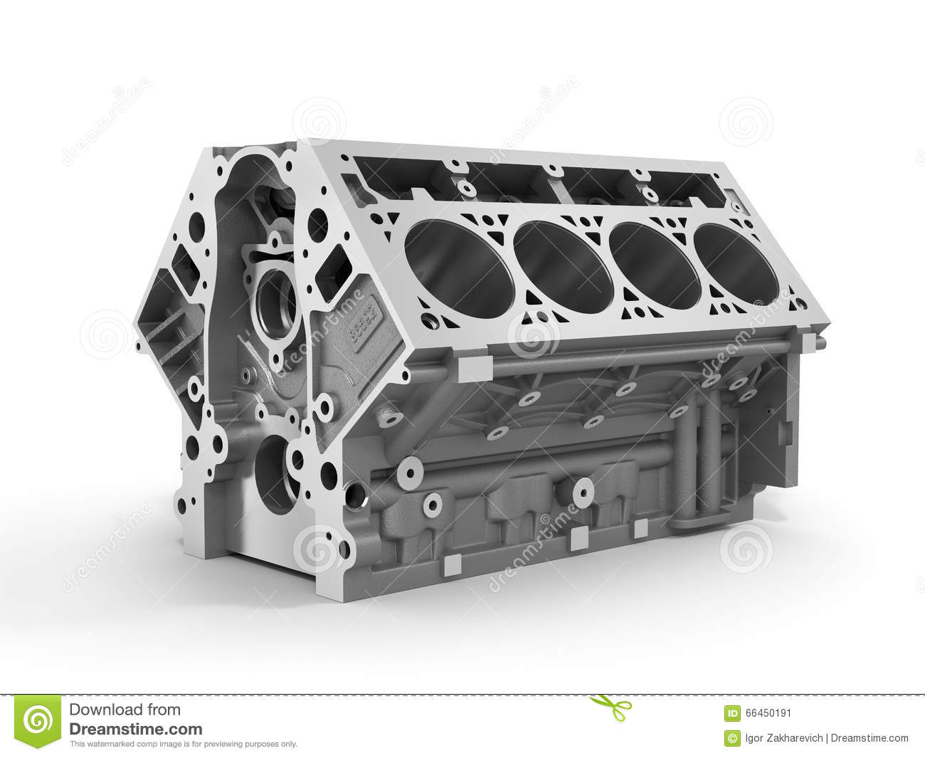 3d Render Of Cylinder Block From Strong Car With V8 Stock Engine