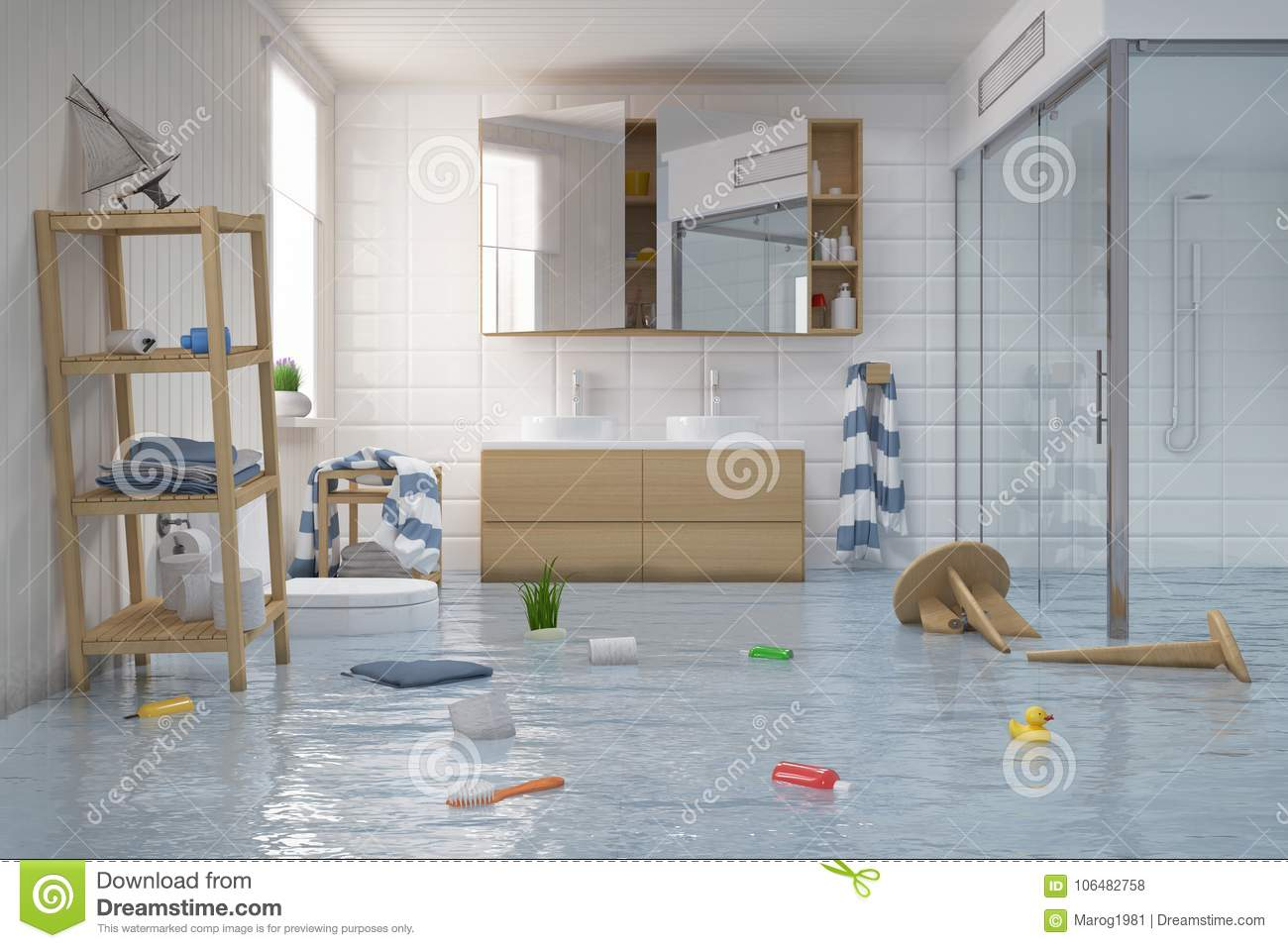 Clean white toilet and flood.