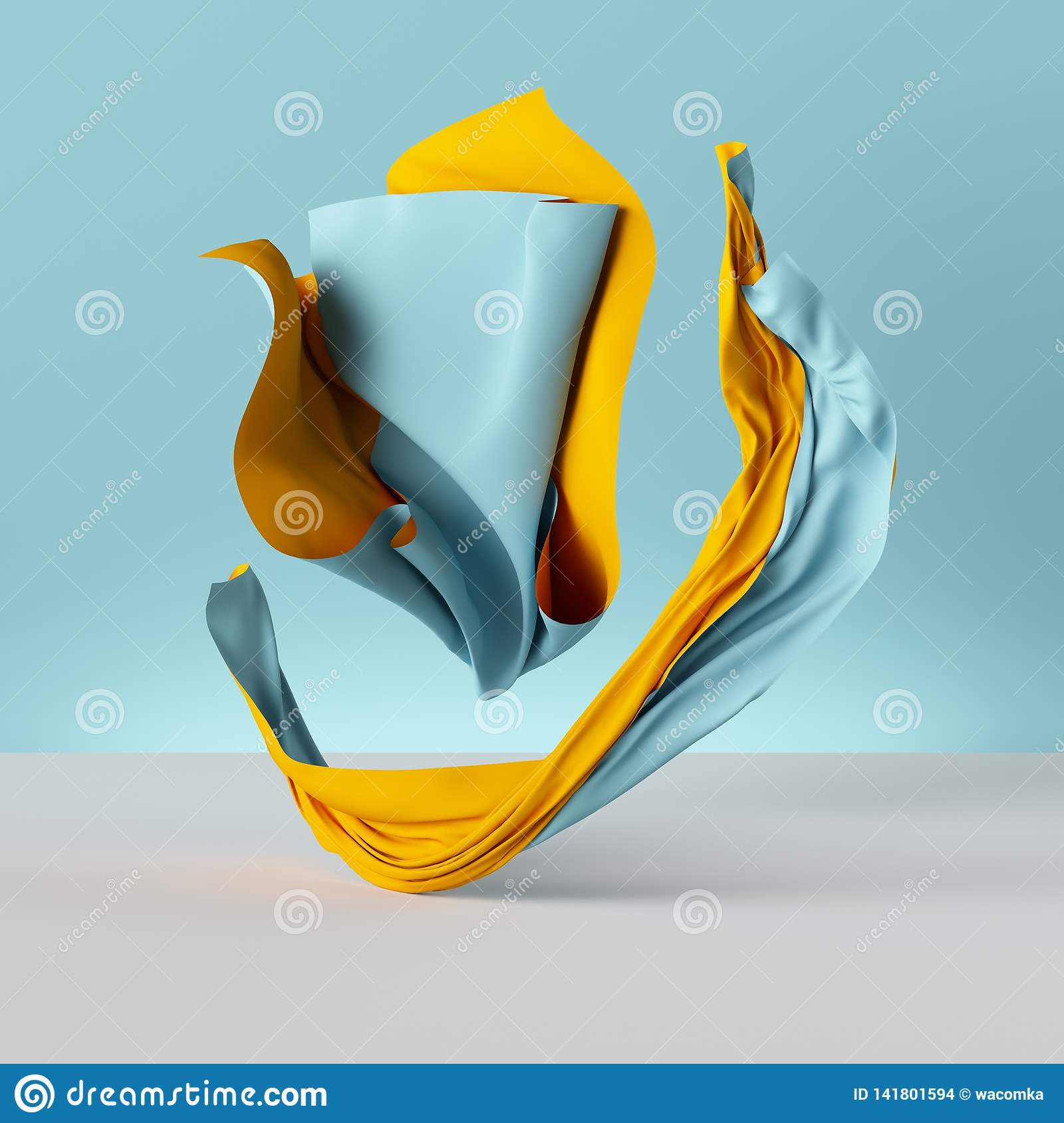 3d Render, Folded Cloth, Yellow Drapery Isolated On Blue