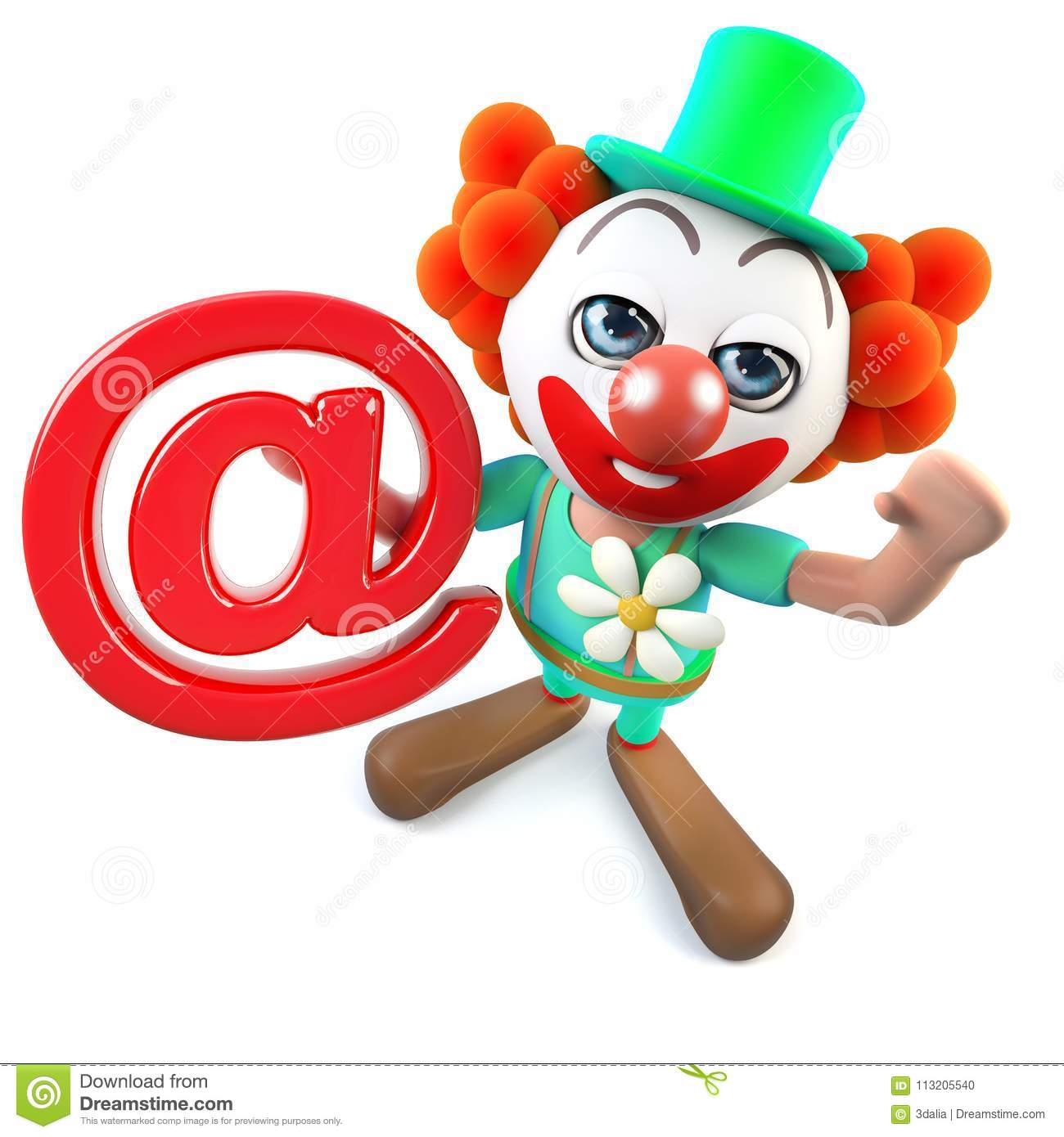 3d Funny Cartoon Crazy Clown Character Holding An Email Address