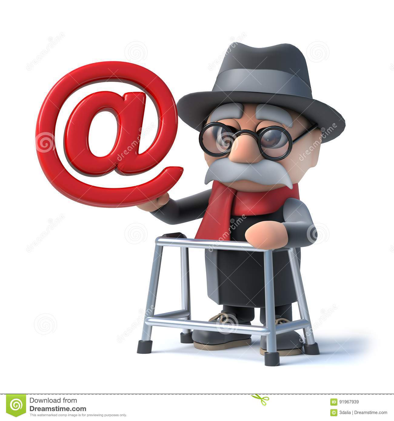 3d Funny cartoon old man with walking frame holding an email address symbol