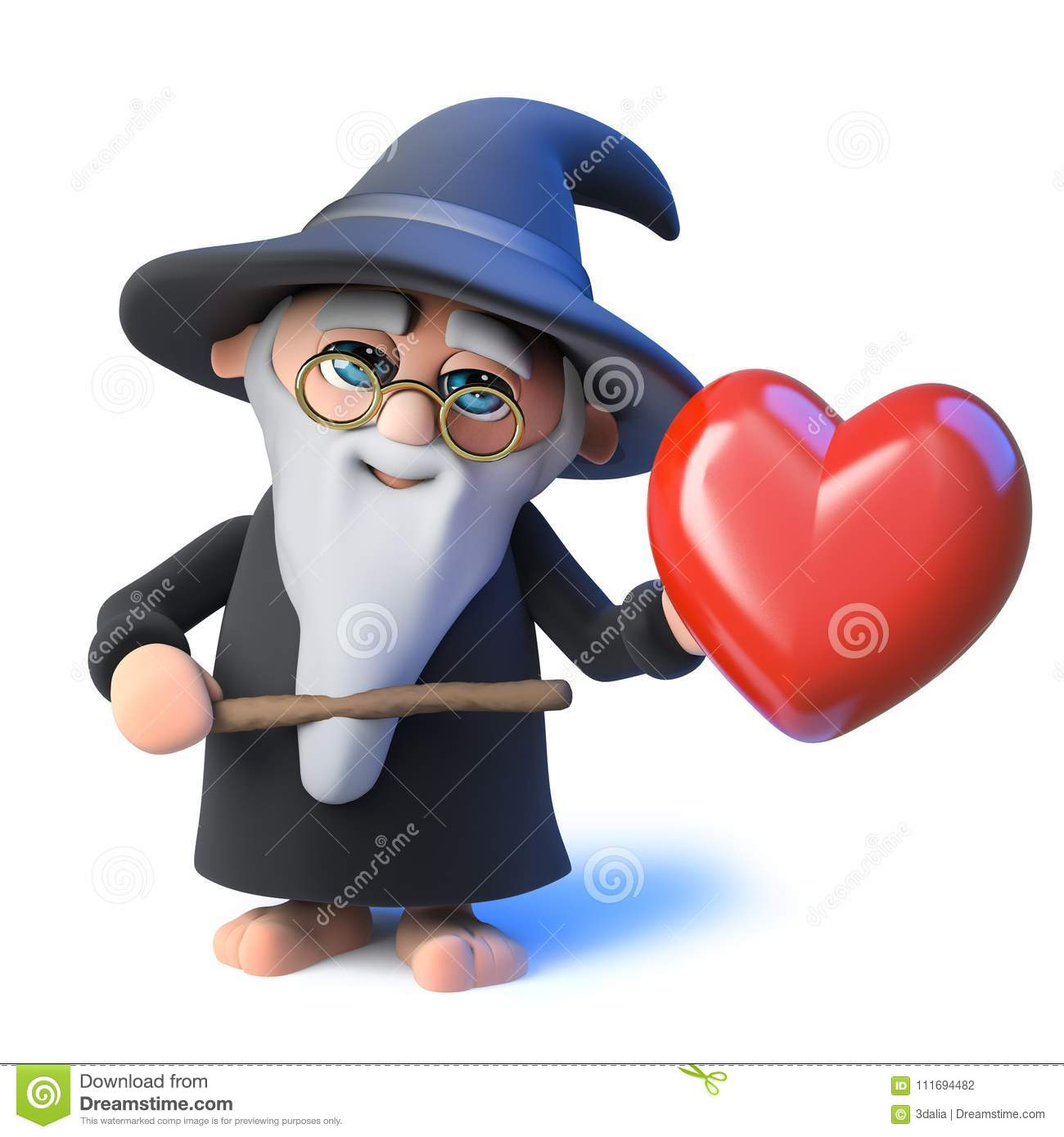 3d Funny cartoon wizard magician pointing a wand at a romantic red heart
