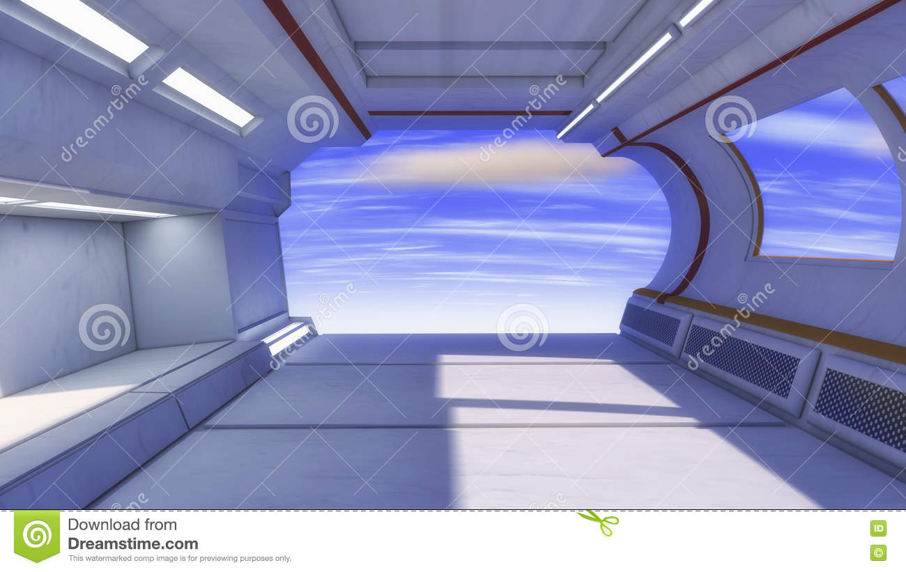 3d Render Futuristic Spaceship Interior Stock