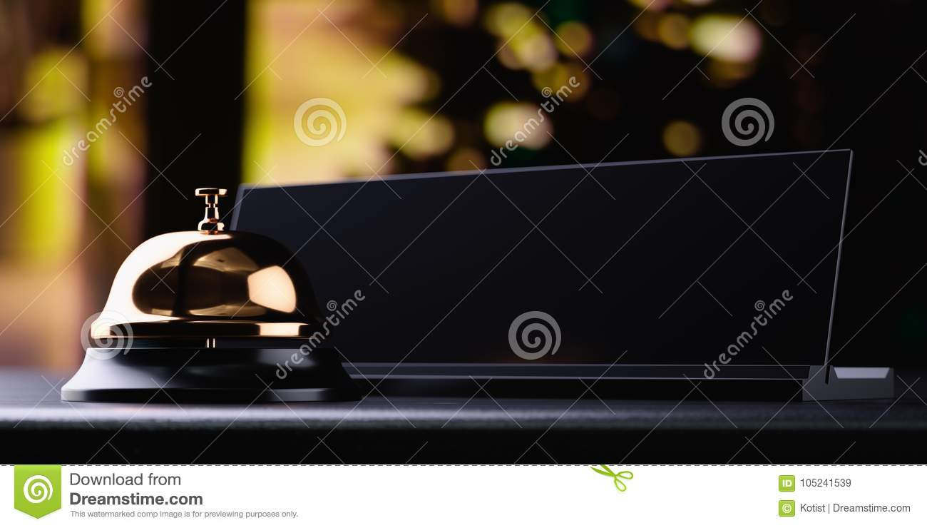 Reception bell golden with black card