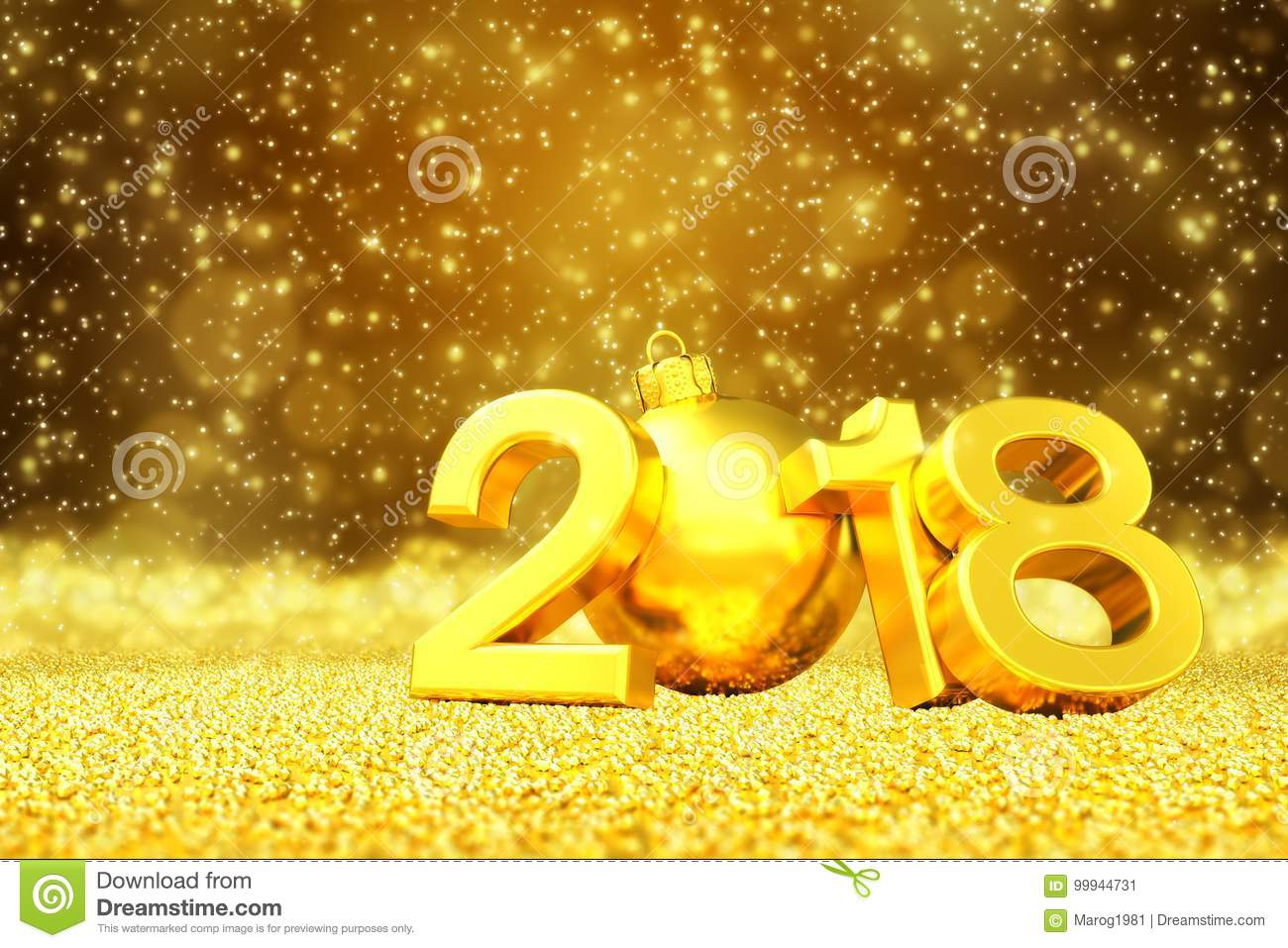 3d render happy new year 2018 golden greeting card