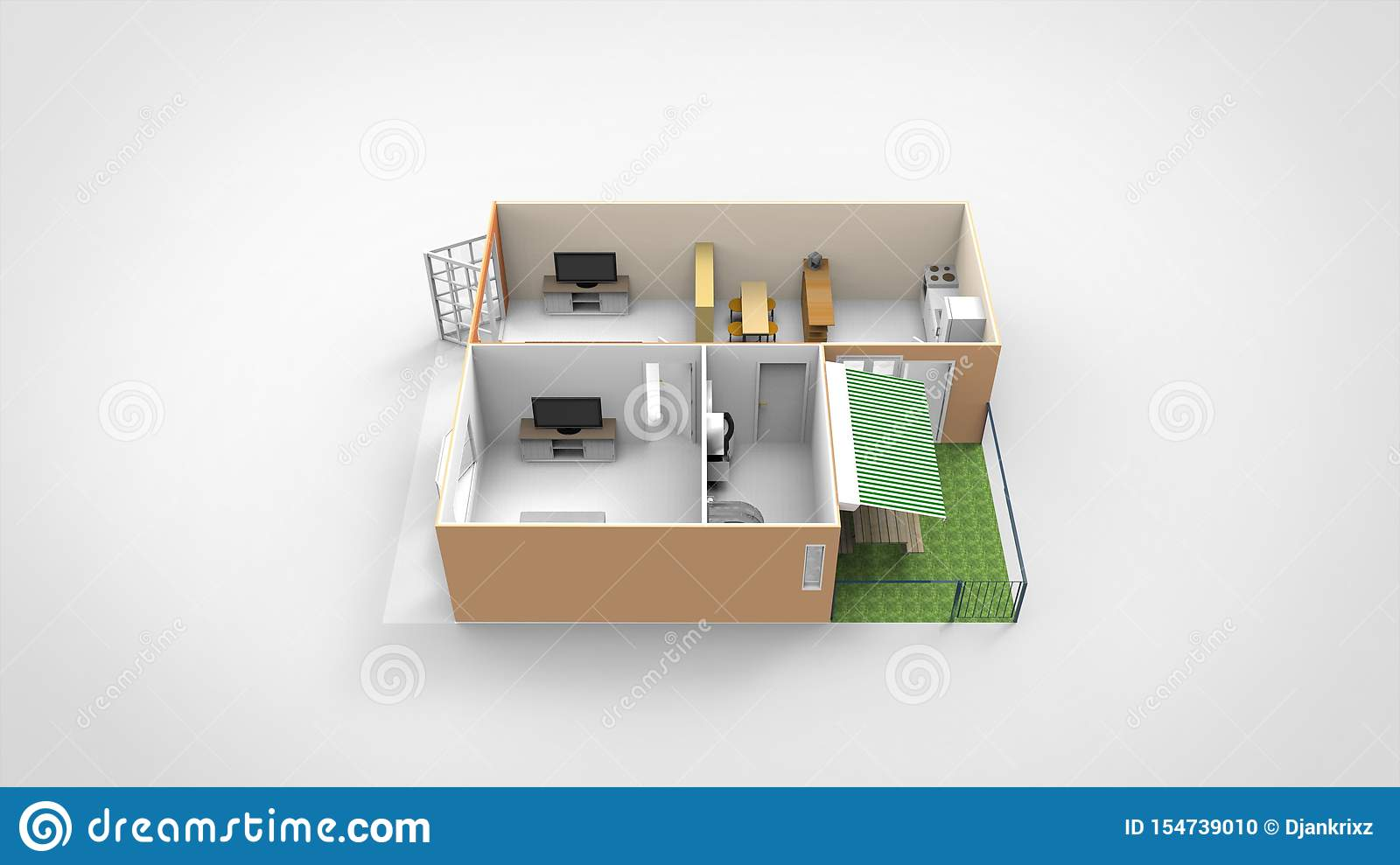 3d Render Home Design With Backyard Isolated Stock
