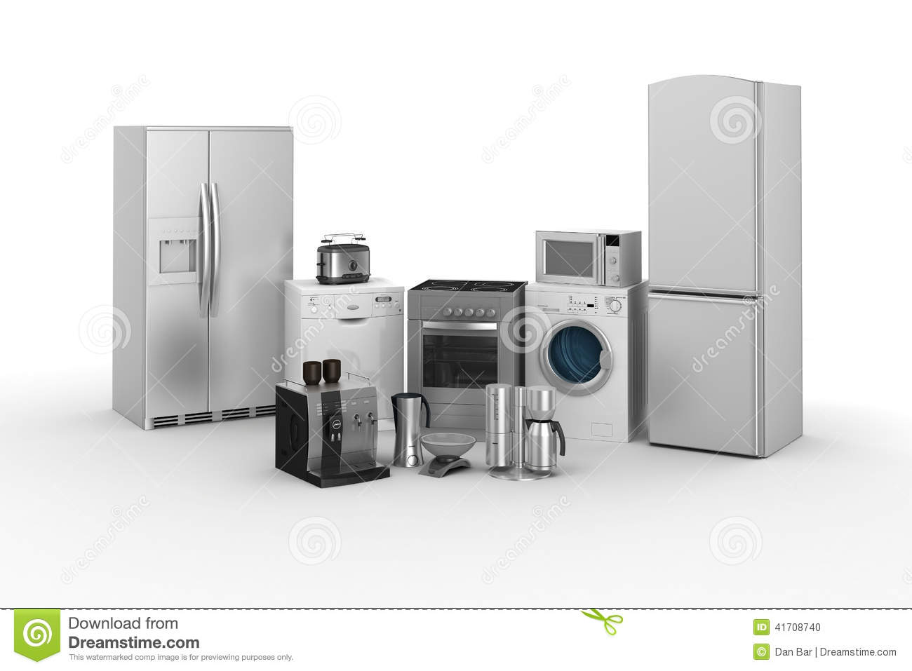 3d render of household appliances stock illustration for Household appliances design