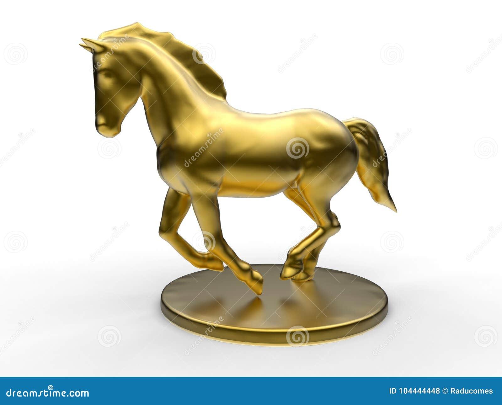 3d Golden Horse Statue Stock Illustration Illustration Of Running 104444448