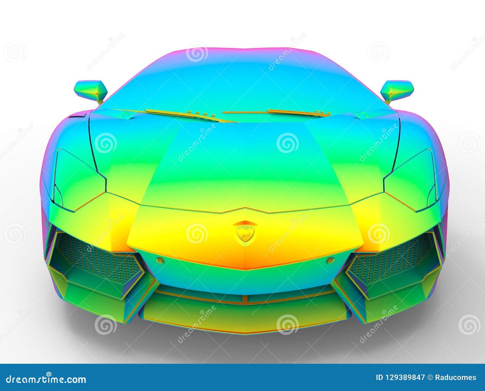 Lamborghini Aventador Color Map Front View Editorial Photography