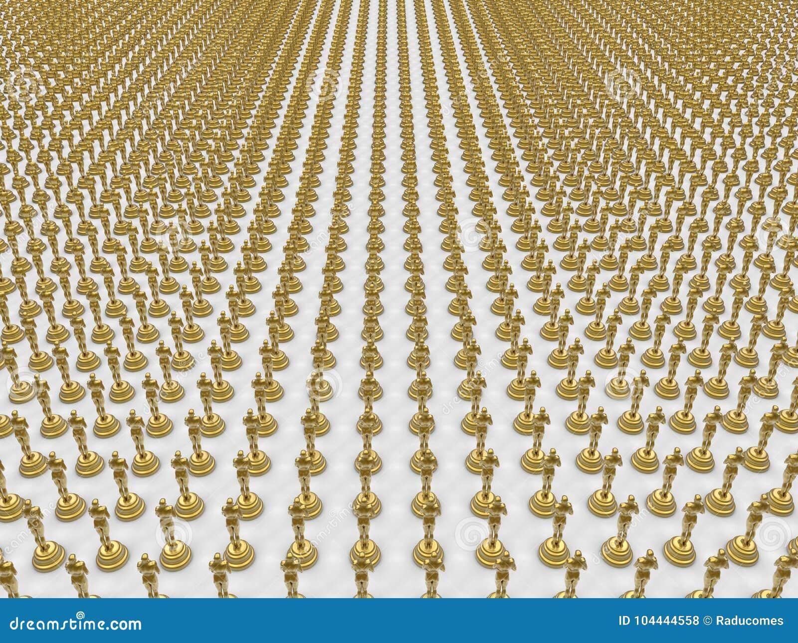 Multiple golden awards stock illustration  Illustration of nobody