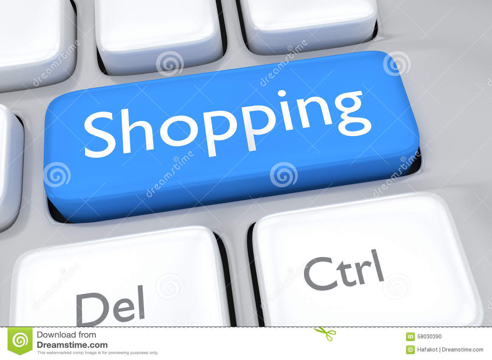 3d Render Illustration Of Online Shopping Key Stock