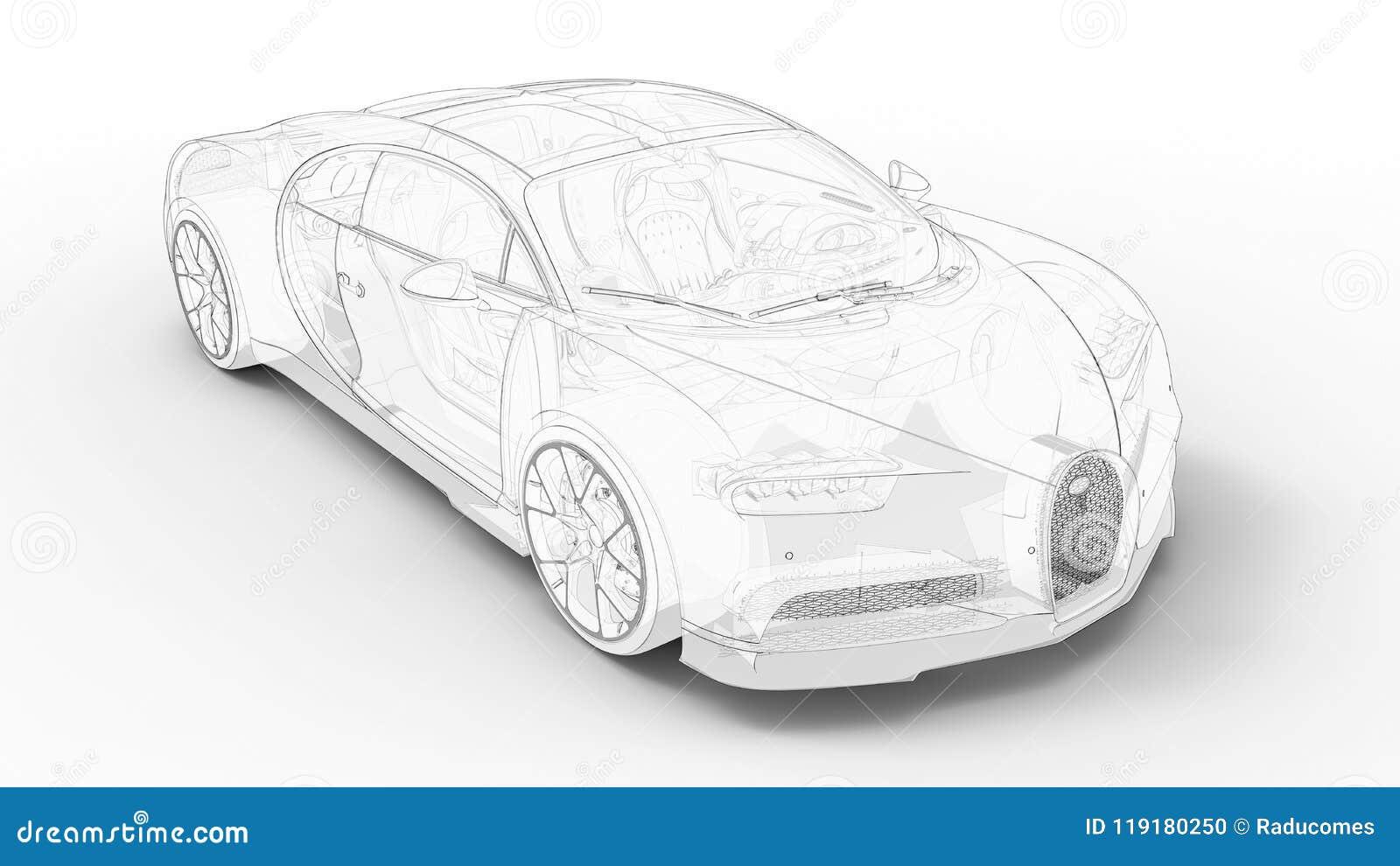 Bugatti Veyron Outline Editorial Image Illustration Of Shadows