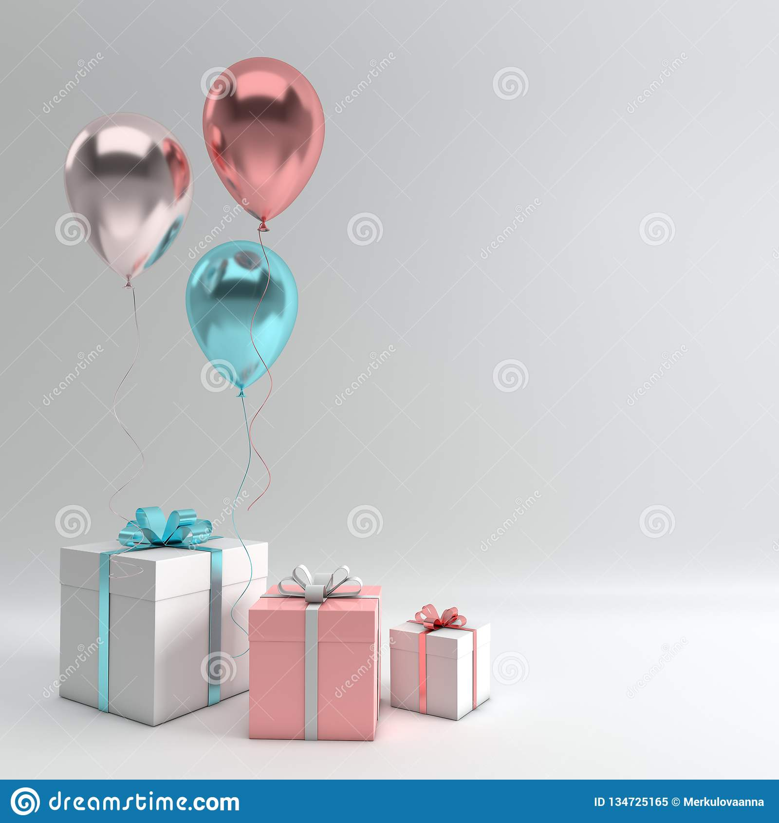 3d render illustration of realistic silver, blue and rose gold balloons and gift box with