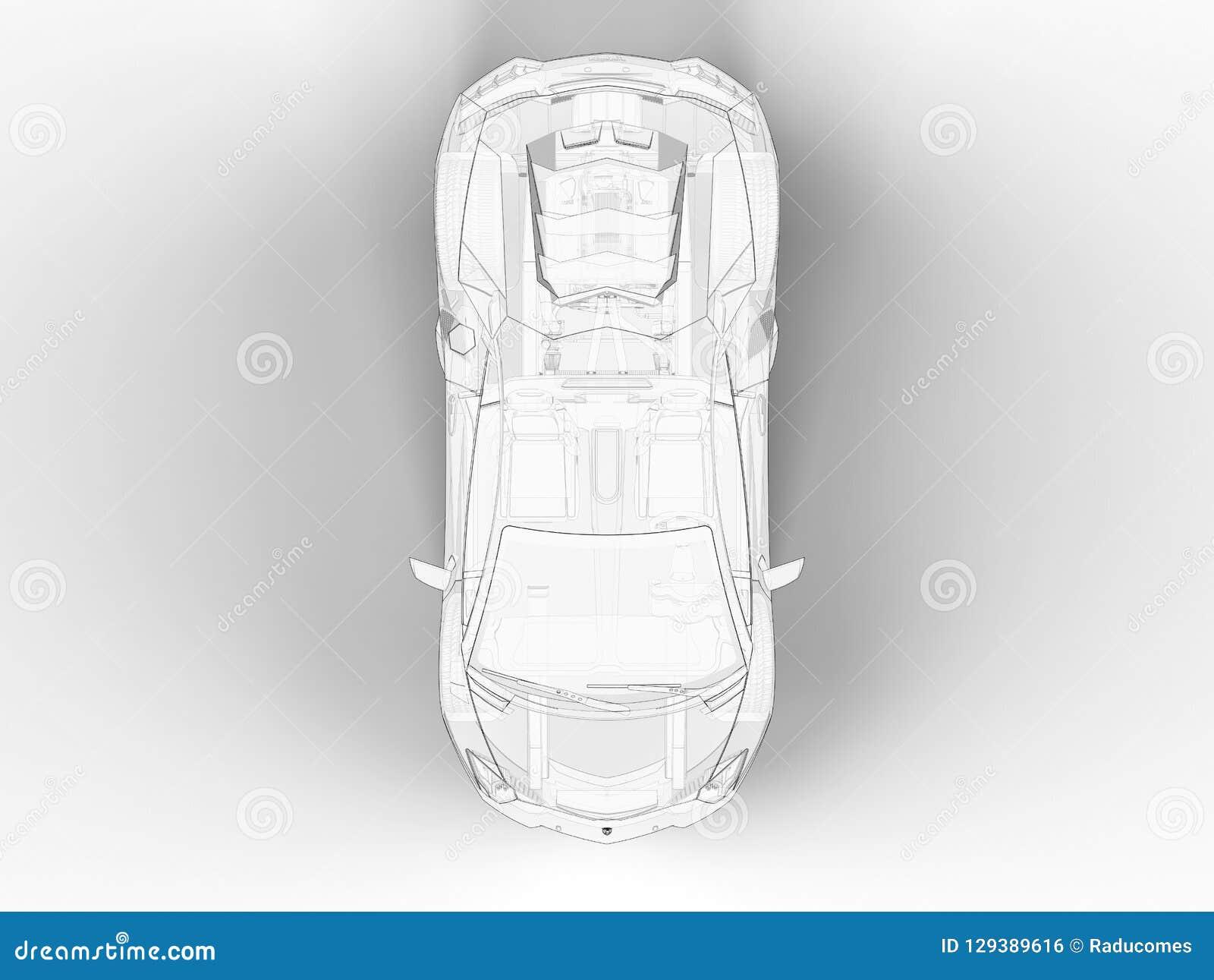 3d Render Top View Of An Outline Lamborghini Aventador Editorial