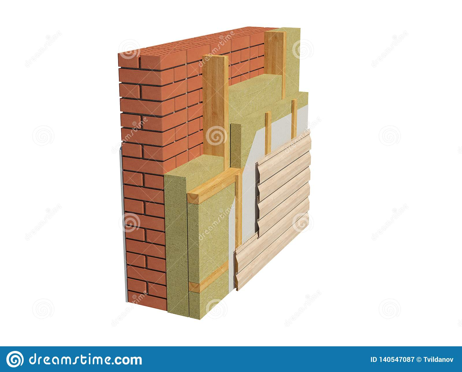 3d Render Image Of Insulated Brick House Wall  Stock