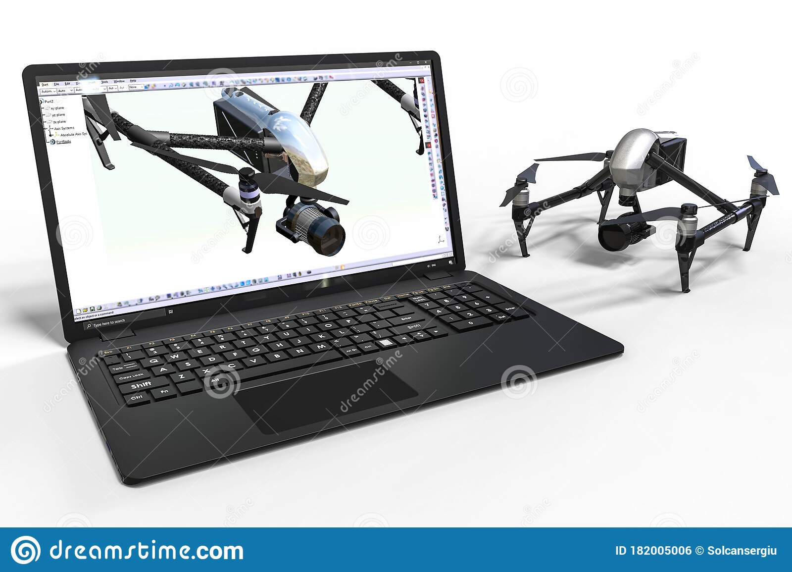 Computer Aided Design With 3d Software Computer Aided Design Of A Drone Stock Illustration Illustration Of Business Isolated 182005006