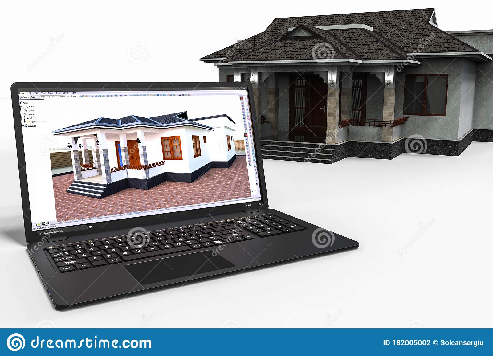 Computer Aided Design With 3d Software Development Of A House With The Help Of The Computers Software Stock Illustration Illustration Of Bank Internet 182005002