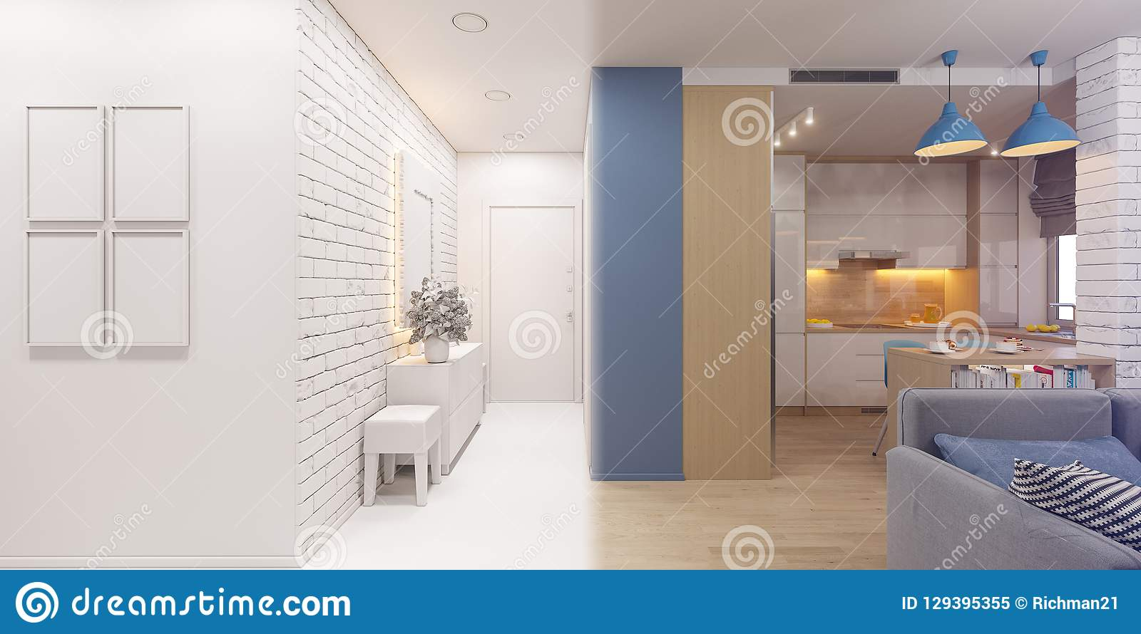 3d illustration of the interior design of an apartment in Scandi