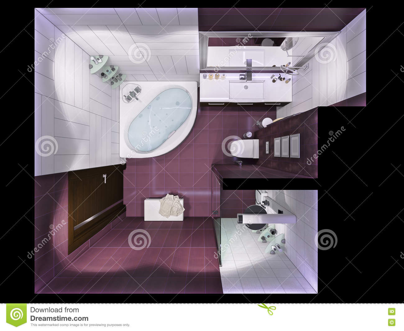 Modern style washroom with 3d tiles royalty free stock for Bathroom designs top view