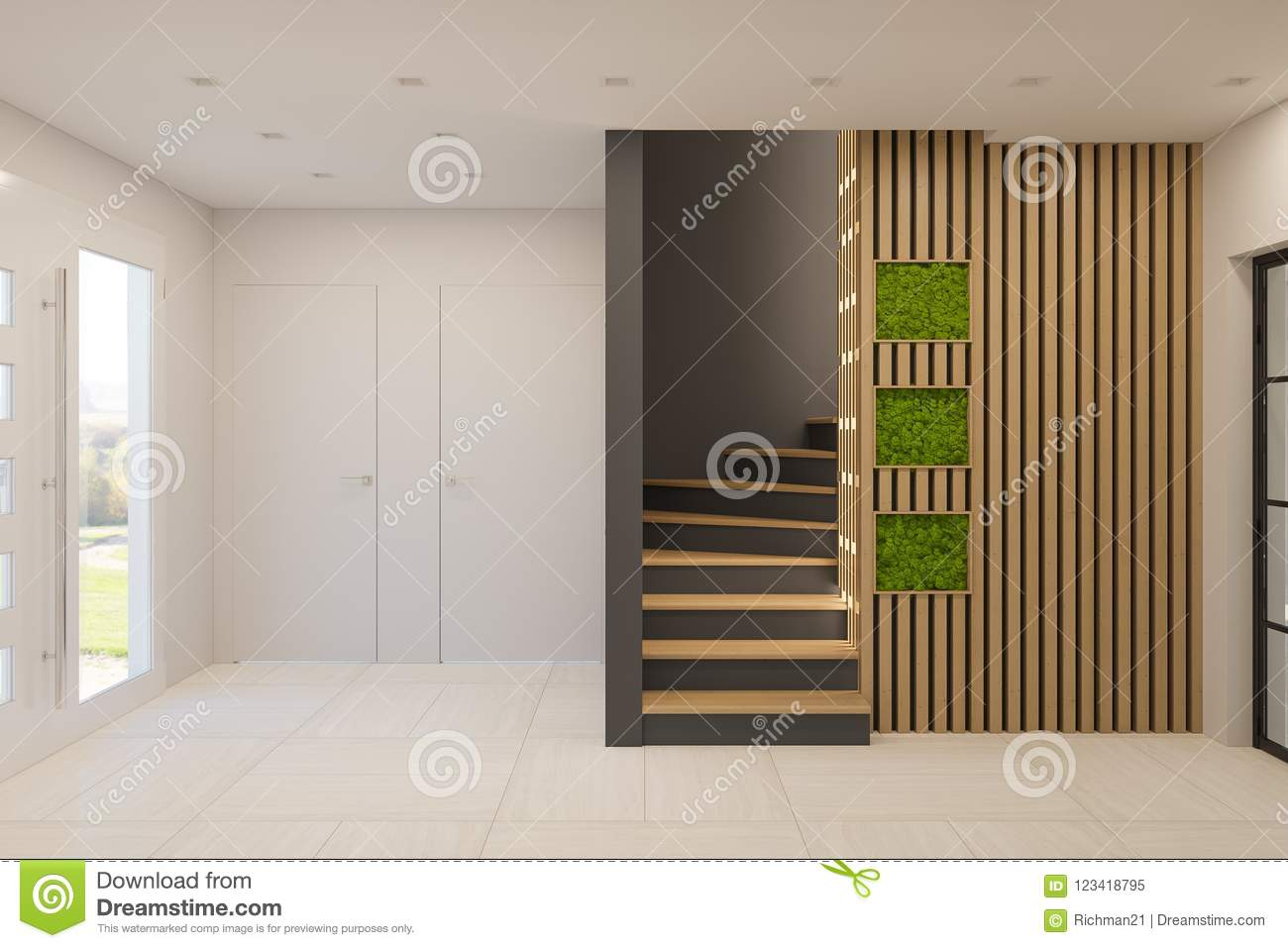 Interior design of a foyer in a private country house staircase in modern scandinavian style ecological style of the interior stabilized moss