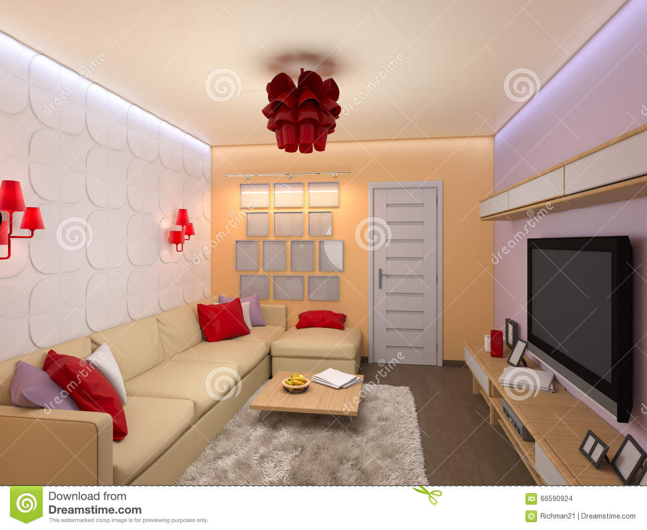 3d ender Of he Interior Design Of he Living oom In Modern S ... - ^