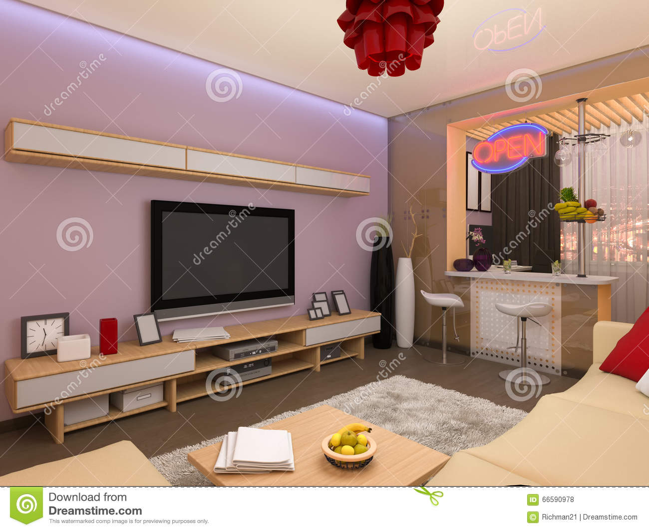 3d render of the interior design of the living room in a for Interior decoration of a room self contain
