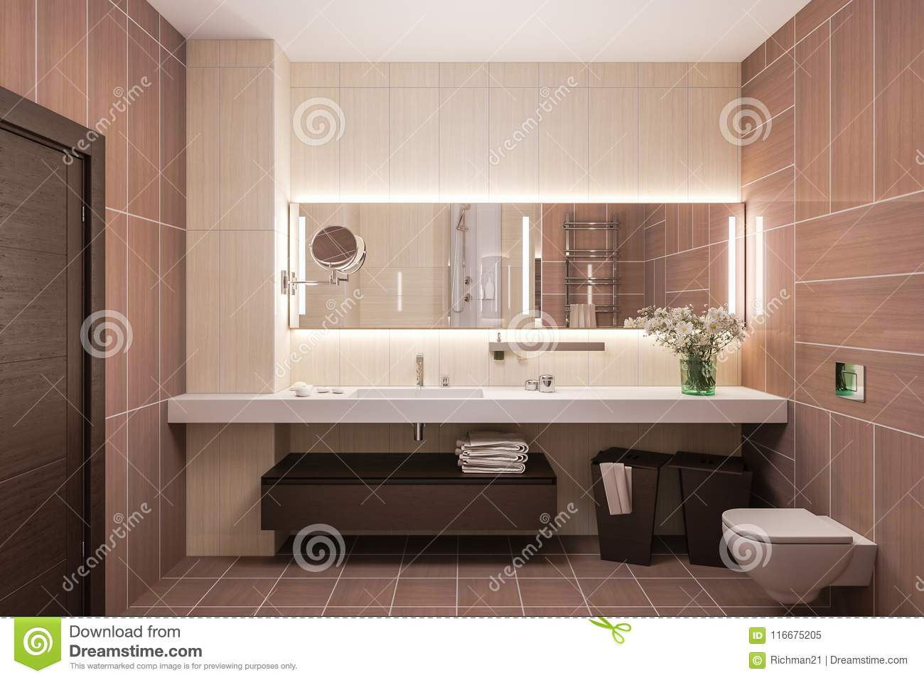 Interior Design Of A Modern Bathroom With A Large Mirror. 3d Illustration  In Warm Colors. 3d Render In High Resolution For Printing.