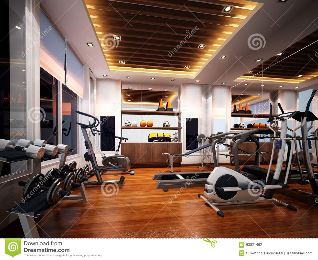 D render of interior fitness room stock illustration