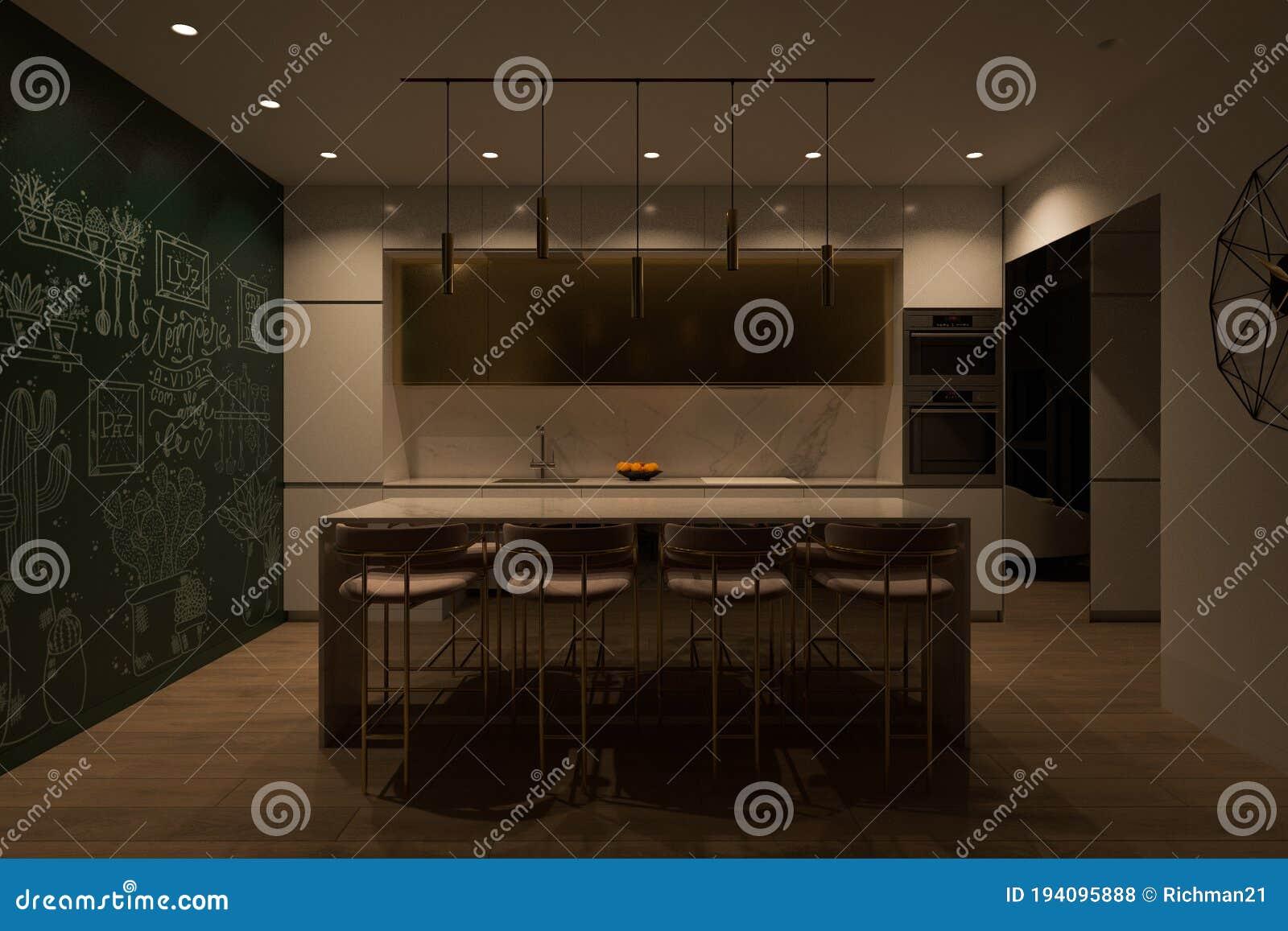 3d Render Kitchen Interior Design Cooking Island And Led Lighting Stock Illustration Illustration Of Dining Cooking 194095888
