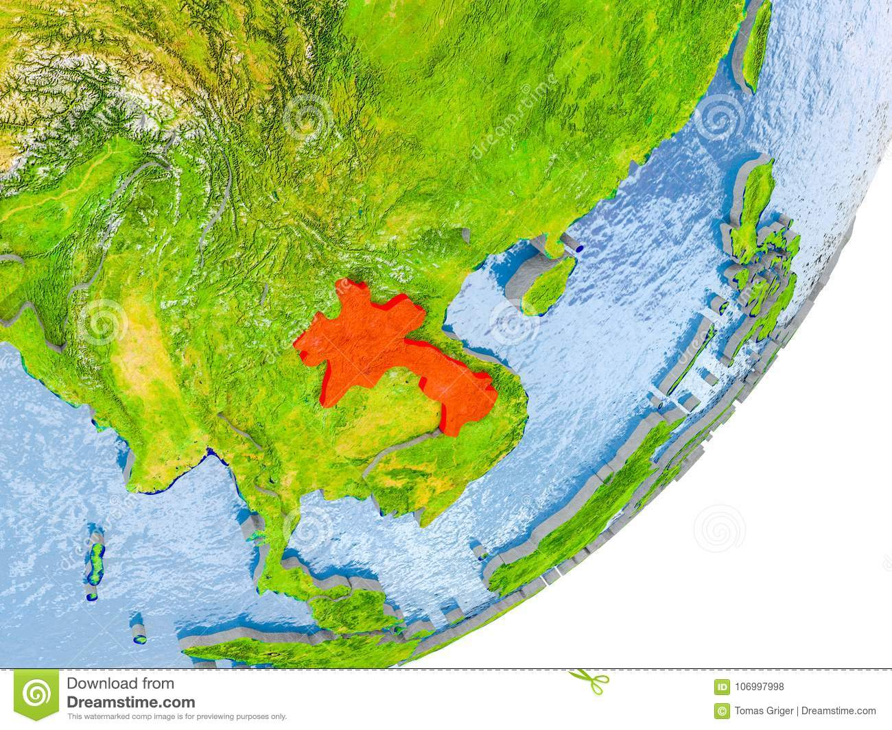 Map of Laos on Earth stock photo. Image of laos, highlighted - 106997998